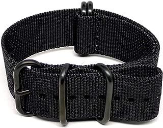 DaLuca Ballistic Nylon Military Watch Strap - Black (PVD Buckle) : 24mm