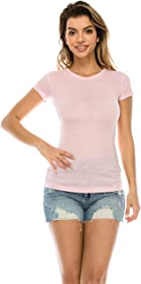The Classic Woman's Casual Basic Plain Crew Neck Slim Fit Soft Short Sleeve T Shirt Cotton Tees