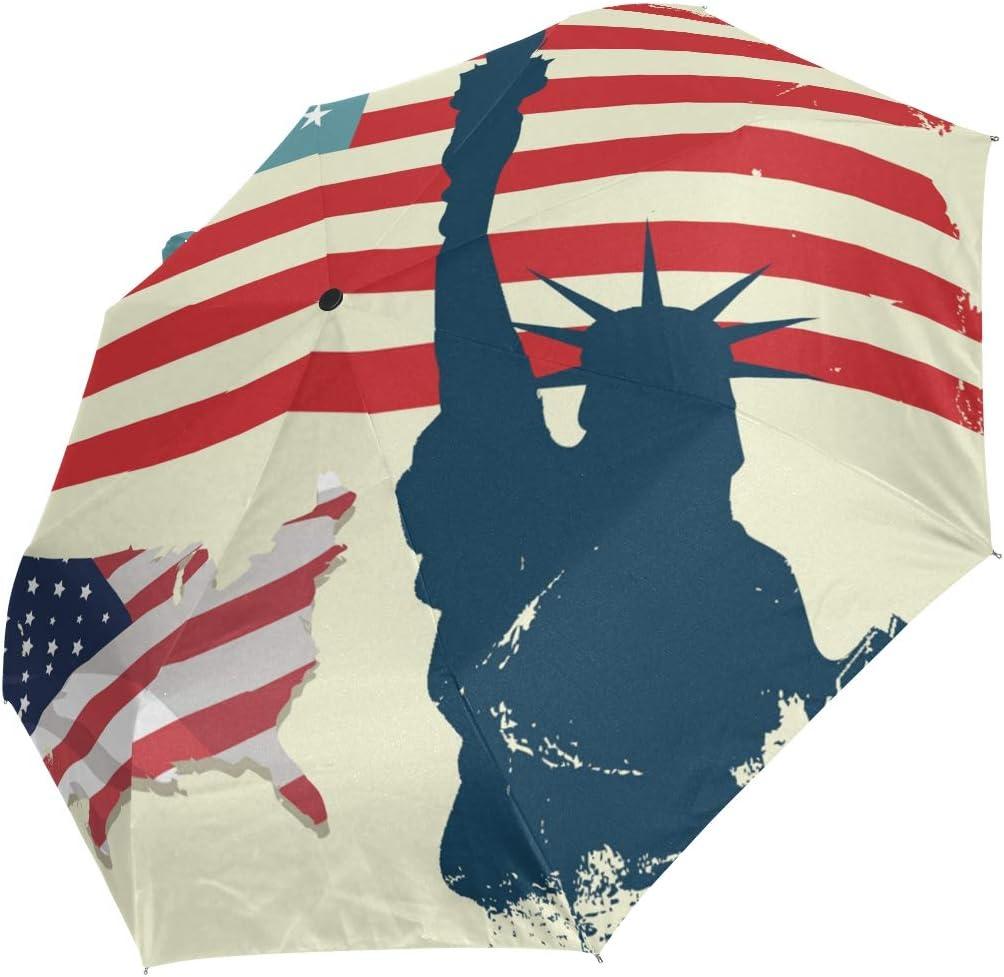 Cheap sale Mini Folding Mail order cheap Umbrella Grunge Usa Retro Liberty Windp Statue Flag