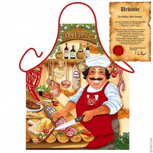 Veri Italienisch Kochen - la Cucina Italiana Grembiule: Osteria - Geschenke Kochschürze mediterrane Küche one Size, bunt mit gratis Urkunde :