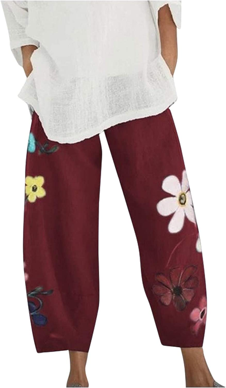 Wabtum Summer Pants for Women Casual Flowers Print Cotton Linen Pants Elastic Waist Wide Leg Cropped Pants witn Pockets