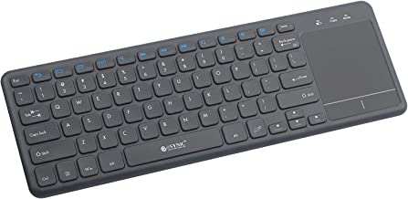 eSynic 2.4G Wireless Touch Keyboard USB TouchPad Media Keyboard with Built-in Large Size Trackpad Mouse Combo for Andriod TV Box Google Smart TV Box Raspberry Pi3 HTPC IPTV Windows 10 8 7 Vista