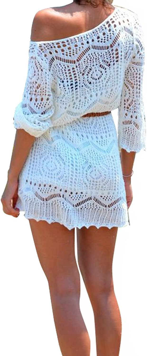 Creabygirls Women's Sexy Crochet Hollow Out Bikini Cover up Dress with Belt White