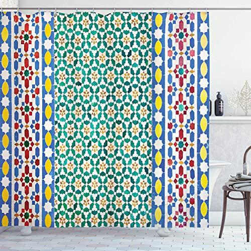 QDAS 60X72inch Cortina de Ducha marroquí Mosaico marroquí Muro Medio Oriente Estilo Artesanía Detalles Verticales Tela de Tela Decoración de baño con Ganchos