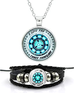 I Love You 3000 Necklace And Bracelet for Men Women - Iron Man Necklace, Tony Arc Reactor Pendant
