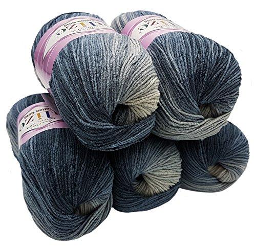 Alize Cotton gold 5 x 100g Strickwolle 55% Baumwolle, 500 Gramm Wolle mit Farbverlauf Mehrfarbig (schwarz grau weiß 2905)