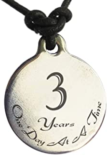 Serenity is Forever 3 Year Sobriety Anniversary Medallion Leather Necklace for Sober Birthday, AA Alcoholics Anonymous, NA Narcotics Anonymous
