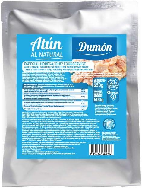DUMON - NUEVO - 1 unidad de 650 gramos de Conserva de Atún al Natural, En Su Propio Jugo. Contiene 21 gramos de PROTEÍNA. (650)