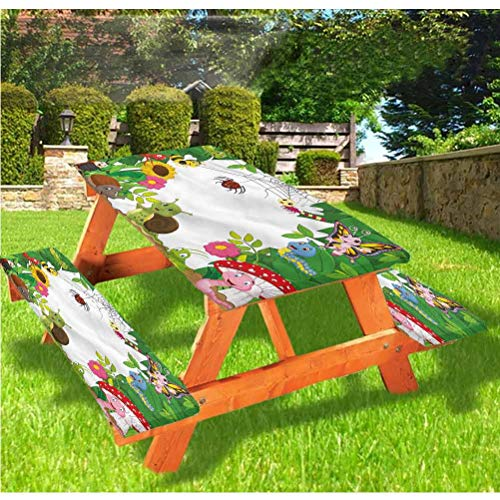 LEWIS FRANKLIN Shower curtain Nursery Picnic Table and Bench Fitted Tablecloth Cover,Little Bugs Butterflies Elastic Edge Fitted Tablecloth,28 x 72 Inch, 3-Piece Set for Folding Table