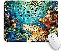 マウスパッド 個性的 おしゃれ 柔軟 かわいい ゴム製裏面 ゲーミングマウスパッド PC ノートパソコン オフィス用 デスクマット 滑り止め 耐久性が良い おもしろいパターン (深海のファンタジー世界のアートワークで魚の尾が泳ぐ人魚)
