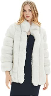 Women's Faux Fur Long Jacket Oversized Long Sleeve Open Front Chunky Sweater Cape for Work Daily