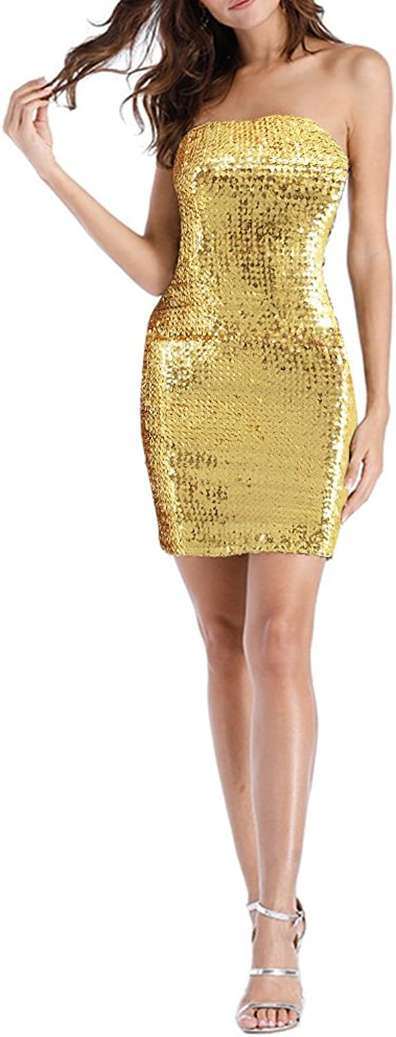 Hoohu Womens Sexy Sparkly Sequin Sleeveless Strapless Tube Top Bodycon Short Dress for Cocktail Party Club Dance