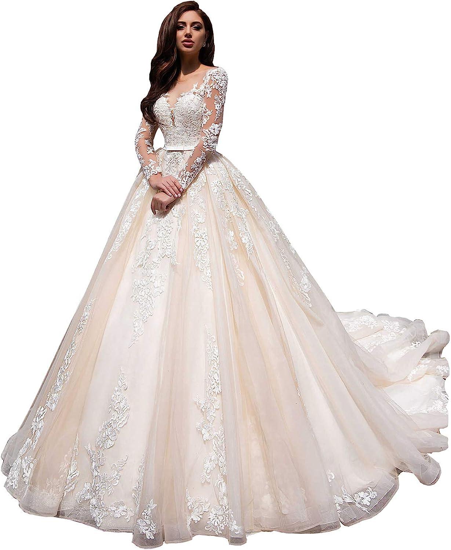 Women's Mermaid Beach Wedding Dresses for Bride 2021 with Long Sleeve Boho Bridal Gowns JJ045