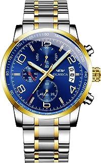 OLMECA Men's Wrist Watches Sport Fashion Analog Quartz Watches Stainless Steel Chronograph Watch Waterproof Wrist Watch fo...