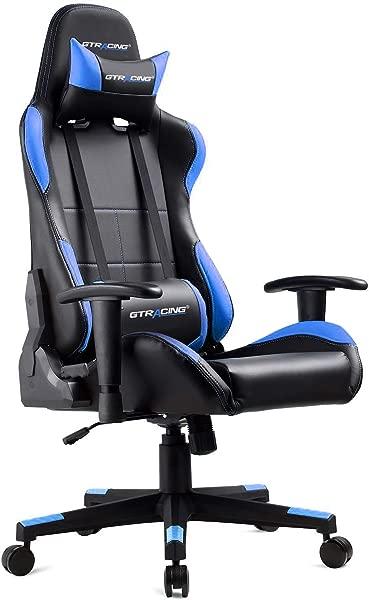 GTRACING 游戏椅人体工学赛车椅 PU 皮革高背可调高度专业 E 运动椅带头枕和腰枕 GTBEE 系列黑色蓝色