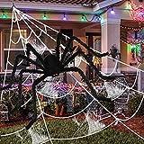 Decoración de Halloween, Araña grande Halloween 150cm, 500cm Telarañas de Halloween, Decoracion Halloween Exterior con Araña gigante con Ojos Rojos, Set de Halloween Decor Jardin Fiesta Casa