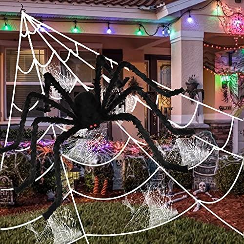 Decorazione Ragno da 150cm di Halloween, 5m Halloween ragnatele, Decorazioni di Halloween di ragnatele estensibili, Ragni Giganti spaventoso per la Decorazione di Festa di casa stregata di Halloween