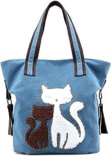 MIFXIN Damen-Handtasche aus Segeltuch mit niedlicher Katze und Schultertasche, groß, für Reisen, Einkaufen, Strandtasche