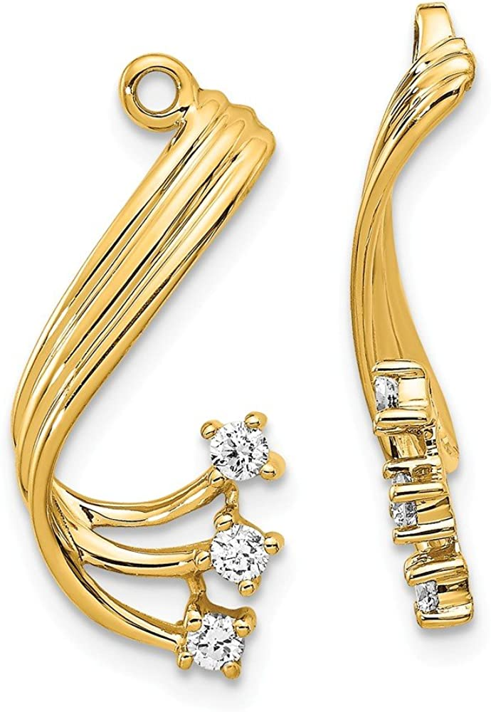 Solid 14k Yellow Gold Diamond earring jacket - 22mm x 10mm (.21 cttw.)