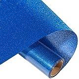 Eygoo Glitter Heat Transfer Vinyl Roll Iron on Vinyl for T-Shirts, 10' x5FT Giltter HTV Heat Transfer Vinyl for Cricut DIY, HTV Vinyl Rolls Easy to Cut & Weed, Glitter Vinyl HTV, Glitter Blue
