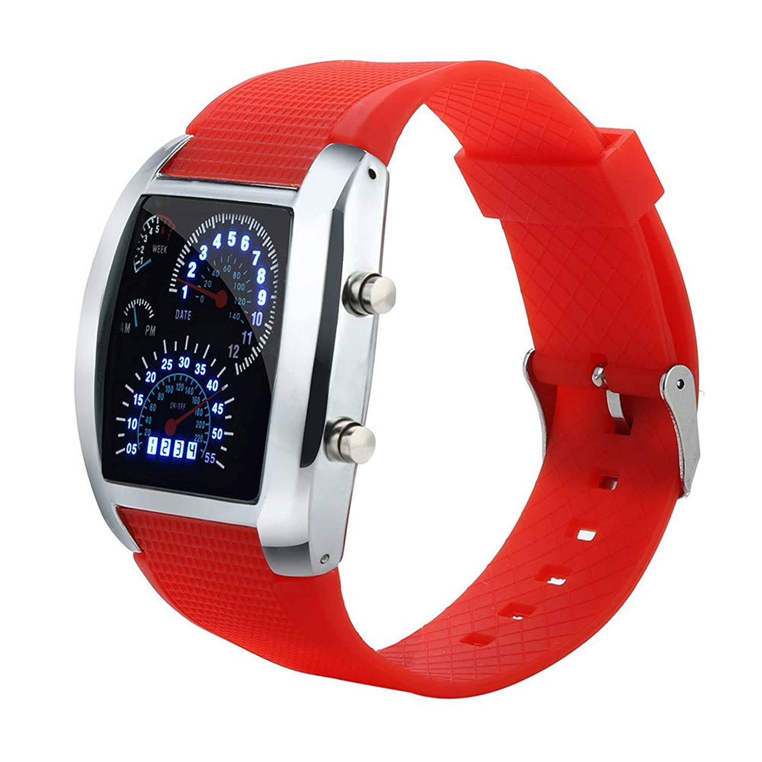 Men's Digital Sports Watch, LED Light Flash Turbo Speedometer Car Dial Meter Military Watch Classic Gifts