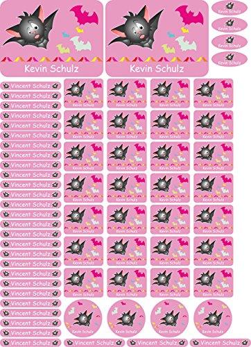 INDIGOS UG pegatinas con nombres para niños - 116 - Bat - autoadhesivo - personalizable - 69 piezas en un juego - available en diferentes motivos - para niños, escuela