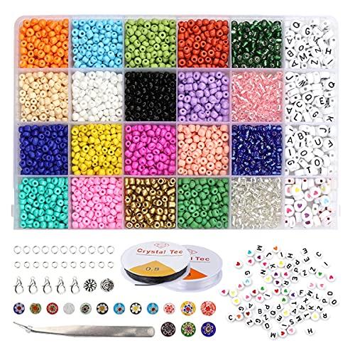 Dsaren 3118 Piezas Cuentas Letras Pulseras Cuentas Colores Mini Cuentas Abalorios Plásticos Cuentas...