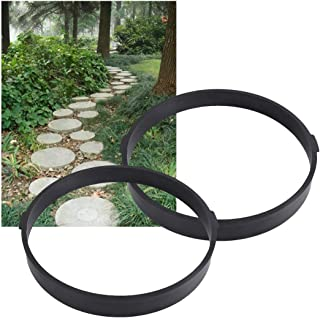 Garden Pavement Path Maker Mold Round Walk Brick Concrete Form Stepping Stone Molds Reusable for Yards Walking, 13.4X13.4inches, 2Pack