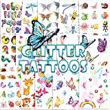 Konsait 180pcs Glitter Tattoos for Kids,Glitter Flash Temporary Tattoos Flower Fairy/Princess/Butterfly/Animal Fake Tattoo Sticker for Girls Children Birthday Party Favor Gift Bag Filler Rewards