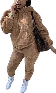 Aro Lora Womens 2 Piece Outfits Warm Fuzzy Fleece Hoodies Sweatpants Tracksuit Set Causal Jumpsuit