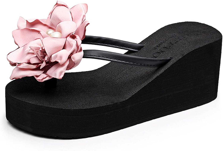 CHENGXIAOXUAN Women's Flip Flops Flower Clip How Feet Slippers Wear New Sandals Beach shoes Slope with Flip-Flops Sandals shoes Leisure Rome shoes Heel 7cm