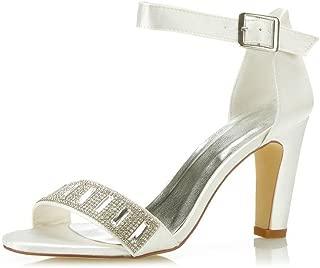 Mrs Right 5471B Women's Bridal Shoes Open Toe Block Heel Rhinestone Pumps Satin Sandals Wedding Shoes