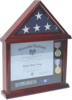 Flag Display Case Certificate Frame Document Holder Stand for 3' X 5' Folded Flag, Military Medal Pin Shadow Box