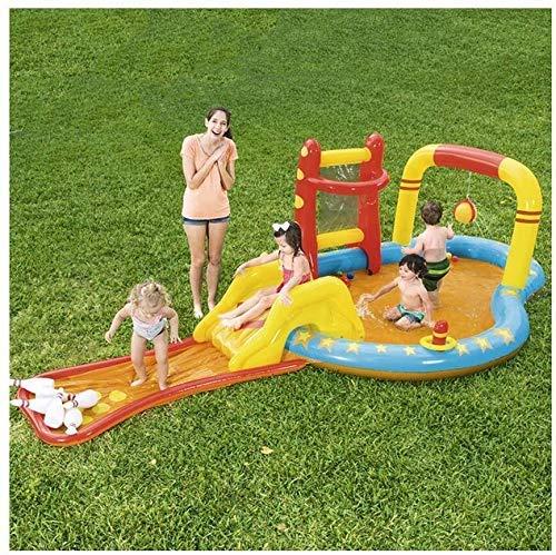 Aufblasbarer Swimmingpool, Blow Up Pool, Wasserpark, mit Rutsche, 171times; 84times; 46 Zoll, for Kinder, Toddles, for Garten, Hinterhof, Sommer-Wasser-Party, ohne Handpumpe (Farbe: mit Handpumpe) XXM