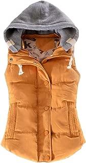 Macondoo Womens Winter Quilted Hoodie Jacket Button Waistcoat Vest