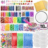 Holicolor 110pcs Slime Add Ins Slime Making Supplies Kit Include Foam Balls, Fishbowl Beads, Glitter Sequins Accessories, Shells, Candy Slime Charms, Slime Containers for Slime Party for Girls Boys