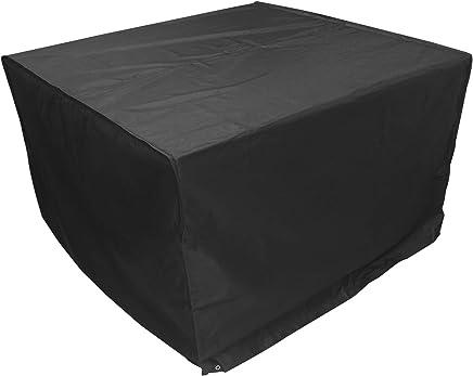 Woodside Heavy Duty Waterproof Rattan Cube Outdoor Garden Furniture Rain Cover, Black, Heavy Duty 600D Material, 5 YEAR GUARANTEE