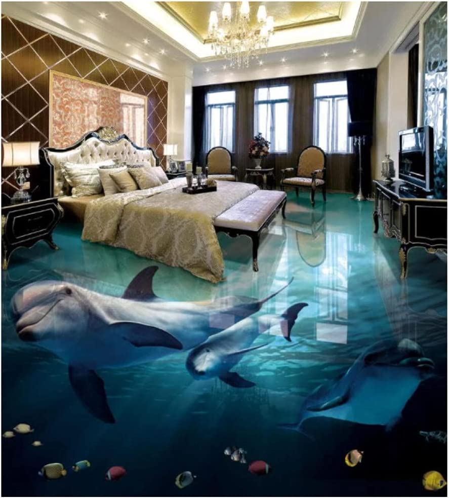 self Today's only Adhesive Wallpaper Kids 3D Flooring Ro Used Dolphin for Any Fashionable