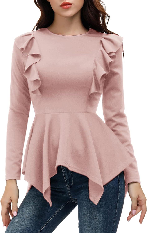 JASAMBAC Women's Elegant Long Sleeve Peplum Tops High Low Asymmetrical Irregular Hem Casual Tops Blouse Shirt