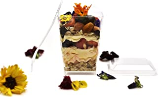Premium 5.7 oz Super Clear Plastic Dessert Cups (50-Pack) with Mini Spoons and Secure Snap-On Lids by HallGems