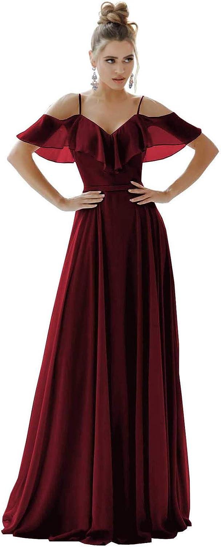 Women's Chiffon 割引 A Line Bridesmaid Long Neck V Spaghetti 新作 Dresses