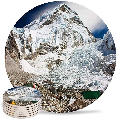 Coasters for Drinks Set of 6- Magnificent Mount Everest Himalayas Snow Mountain Outdoor Camping Absorbent Ceramic Coaster with Cork Back for Bar Office Coffee, Housewarming Gifts