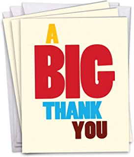 3 Pack of 'Big Thank You' 8.5 x 11 Inch - Hilarious Bright and Colorful Thank You XL Appreciation Card - Colorful And Silly Big Text Thank You XL Greeting Card w/Envelope J9689TYG3
