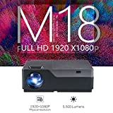 M18 LED Projector M18UP 5500 Lumens 1920x1080P Android 6.0 wifi Video Beamer LED Projector for 4K Home Cinema US Fast Shipping