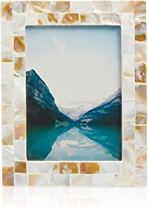 Okuna Outpost Seashell Picture Frame for 5 x 7 Inch Photos, Beach Decor (1 Pack)