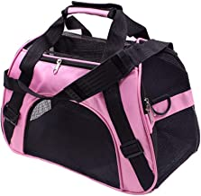 Soft Sided Pet Carrier Airline Approved, Collapsible Cat Carrier Medium Cats, Light Weight Dog Travel Bag, Dog Carrier for Small Dog, Portable Foldable Puppy Bag (Color : Pink, Size : L)