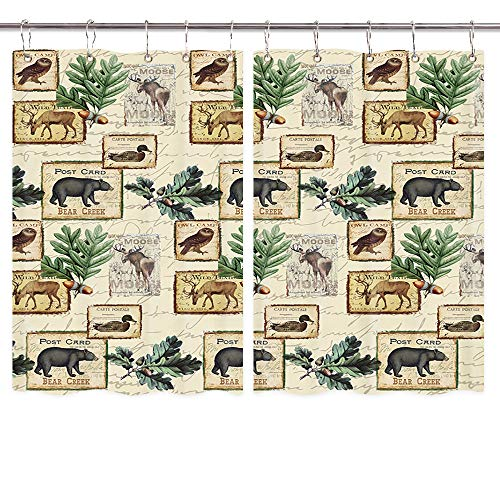 Rustic Lodge Kitchen Curtains, Country Cabin Bear Elk Deer Moose Owl Duck Wilderness Forest Animals Pattern Window Curtain, Waterproof Fabric Kitchen Drapes 10PCS Hooks 55X39IN