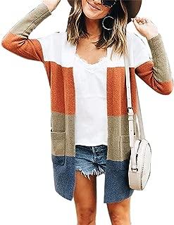 Women Long Sleeve Sweater Striped Cardigan Blouses Long Coat Tops Loose Sweatshirt with Pocket