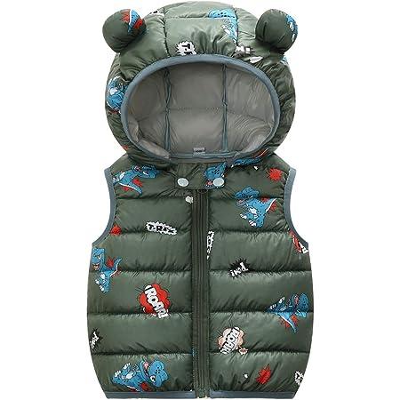 Bebé Chaleco de Abajo Infantil Chaleco de Plumas Invierno Encapuchado Chaquetas Acolchado Ligero sin Mangas Abrigo
