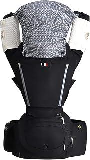 【ベビーアムール】Bebamour 抱っこひも 新生児 6way ベビーキャリア たためるヒップシート 3D低反発座面 負担軽減 前向き おんぶ 快適(ブラック)